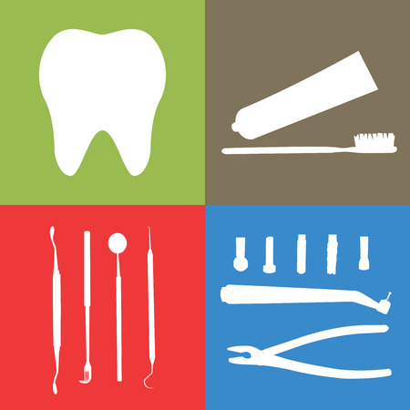 carver: Background or banner, teeth, dental instruments, dental care Illustration