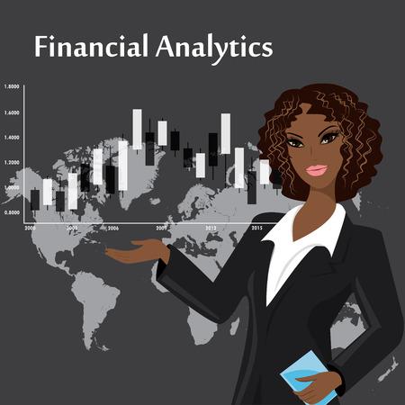 stock trader: velas japonesas analizada por la mujer joven sobre fondo oscuro Vectores