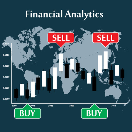 Japanese candlestick chart showing  trend, vector Illustration