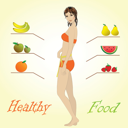 Girl and fruits, healthy food, vector infographics. Vector