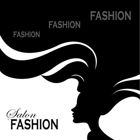 salon beauty: Mujer de la manera con el pelo largo. Ilustraci�n del vector. Dise�o elegante para Sal�n de belleza aviador o Banner.