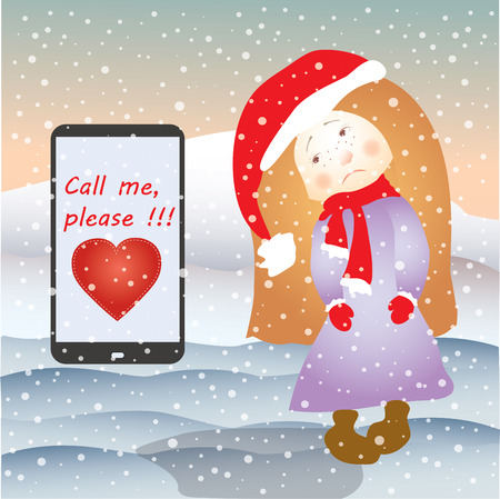 Sad girl and mobile phone SMS or email, under the snow, vector Illustration