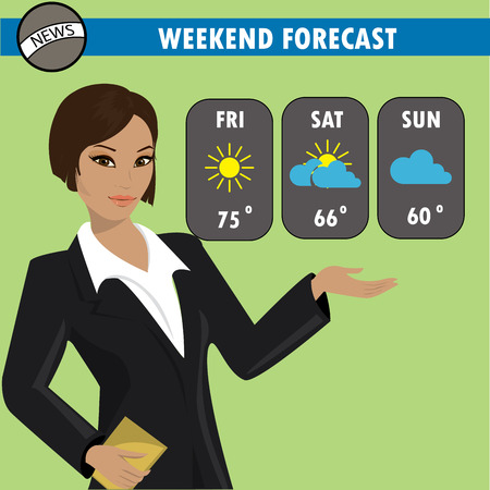 newscast: A vector illustration of a TV weather reporter at work