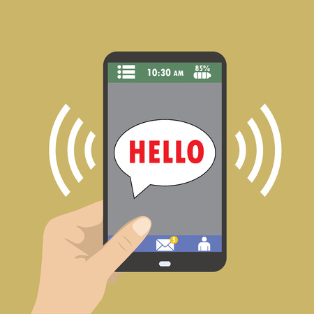 hand holding smart phone: Hand holding smart phone, hello icon on the screen