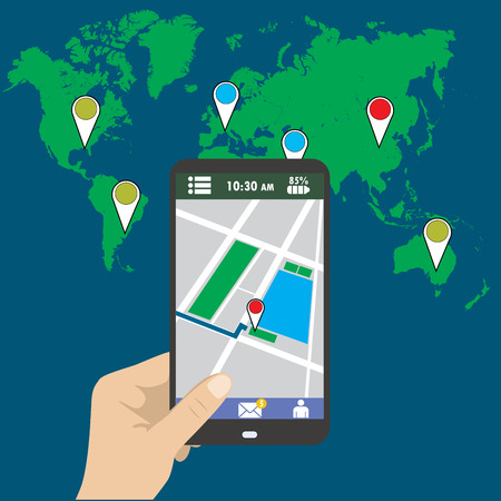 holding smart phone: Hand holding smart phone, gps map on mobile, flat design.