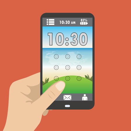holding smart phone: Hand holding smart phone, the screen saver with a graphical password, and clock