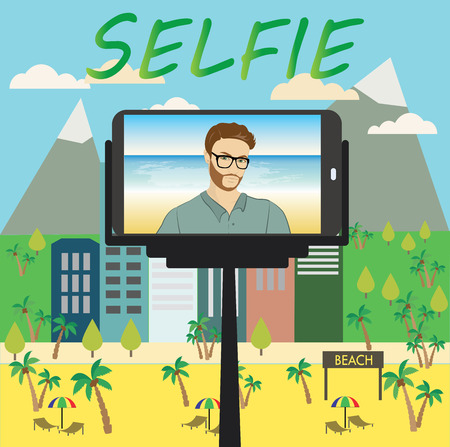 using smartphone: Man makes selfie using a monopod and a smartphone, vector