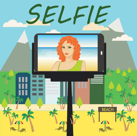 woman smartphone: Woman makes selfie using a monopod and a smartphone, vector Illustration