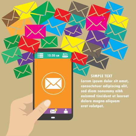 mobile marketing: Vector mobile app - email marketing and promotion.