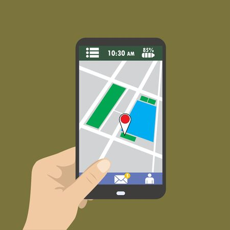 hand holding smart phone: Hand holding smart phone, gps map on mobile, flat design.