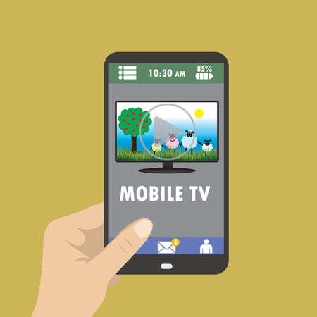 flat screen tv: Hand holding smart phone on the screen that plays cartoon, mobile TV, flat vector