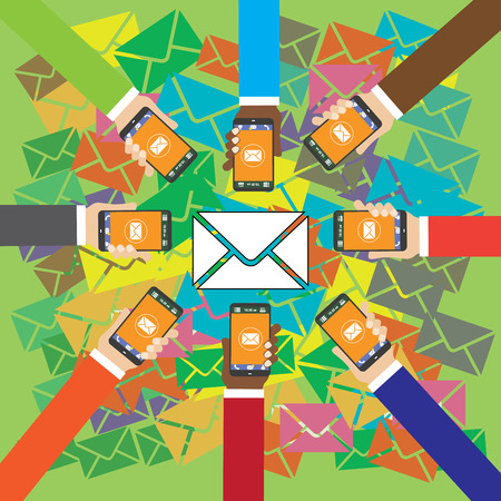 many hands: Many hands holding smart phones and send SMS, flat vector Illustration