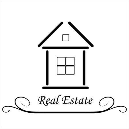 abode: Real Estate Vector icon, black and white Illustration