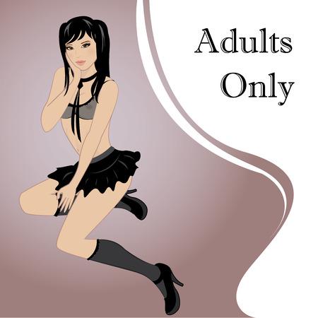 Bella, sexy ragazza asiatica in lingerie, illustrazione vettoriale Archivio Fotografico - 38810100