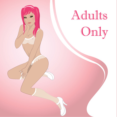 naked woman sitting: Beautiful, sexy asian girl in lingerie, vector illustration