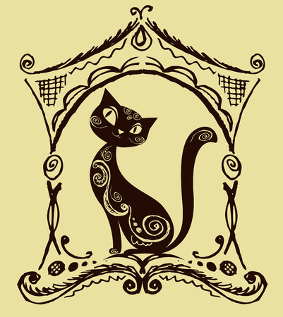 smiling cat: Cat with vintage ornament, silhouette, vector illustration Illustration
