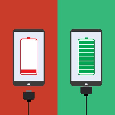 장 전기: smartphone battery,the charger, flat design, vector 일러스트
