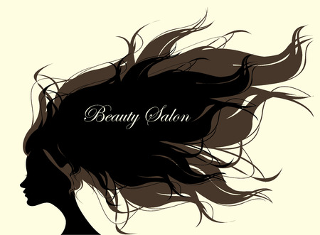 hair saloon: Fashion Woman with Long Hair. Vector Illustration. Stylish Design for Beauty Salon Flyer or Banner. Illustration