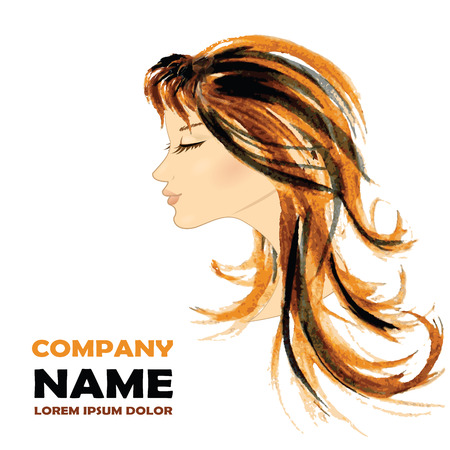 coiffure: Fashion Woman with Long Hair. Vector Illustration. Stylish Design for Beauty Salon Flyer or Banner. Illustration