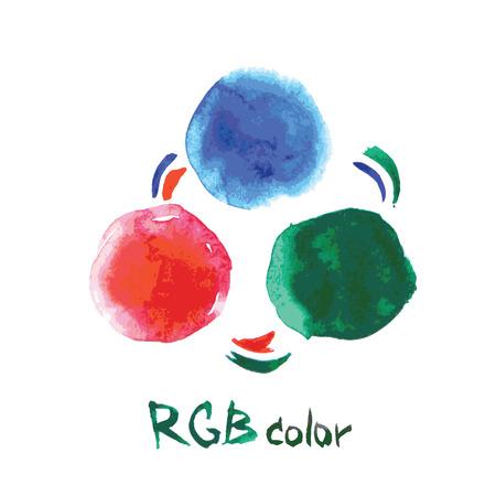 rgb: RGB color,watercolor, hand drawing, vector illustration