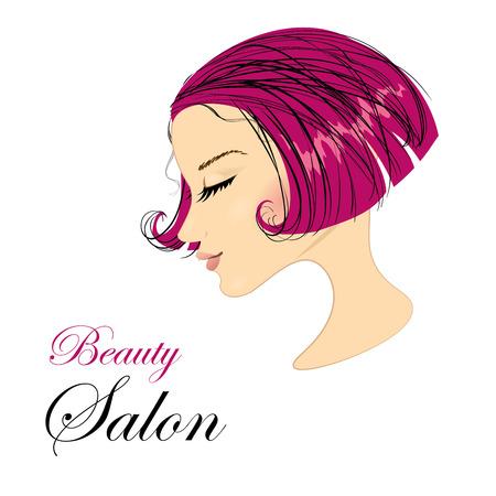 Fashion Woman with  beautiful Hair. Vector Illustration. Illustration