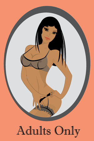 Beautiful, sexy  girl in lingerie, vector illustration