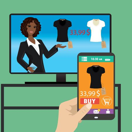 woman smartphone: Woman is purchasing black t-shirt online in TV shop using smartphone.