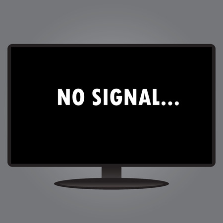 flat screen tv: Inscription on the TV screen - no signal, flat design, vector illustration