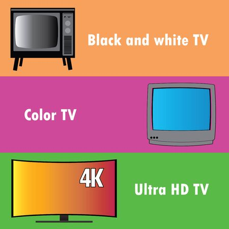 crt: Banners or background, the evolution of television, flat vector