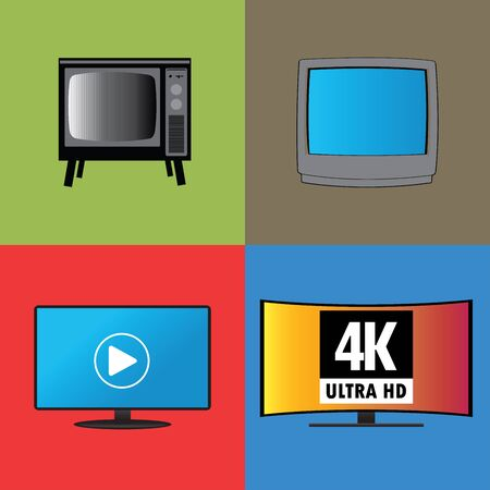 Banners or background, the evolution of television, flat vector Vector
