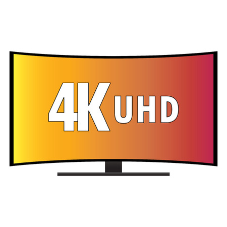viewing angle: 4K Ultra HD Modern Curved Screen Smart TV, vector Illustration