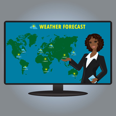 meteorologist: Vector illustration of a TV weather reporter at work