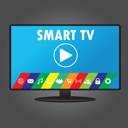 Smart TV with different icons, flat design, vector illustration