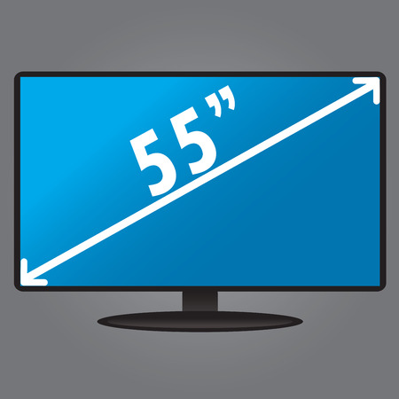 display size: TV, with an index size of the screen, flat design, vector illustration