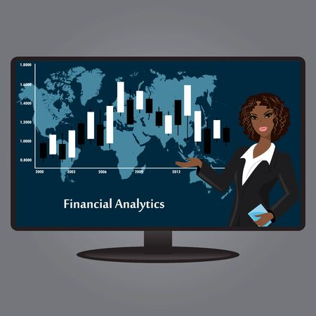 flat screen tv: African-American woman on the TV screen, a financial analyst, flat design, vector illustration