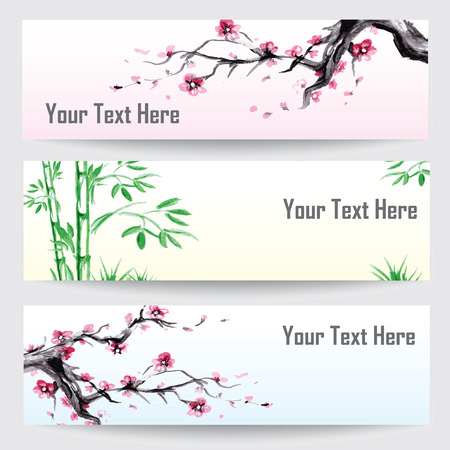 china watercolor paint: Watercolor design banners