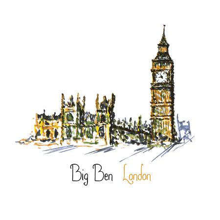 elizabeth tower: Watercolor Clock tower Big Ben Palace of Westminster