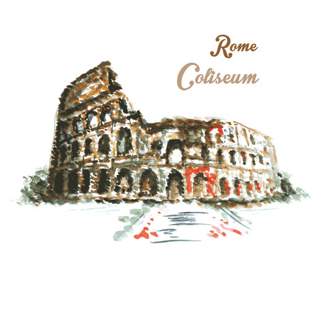 italian tradition: Colosseum, hand drawing watercolor style