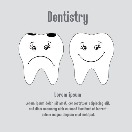 aching: Sad aching tooth and cheerful healthy tooth