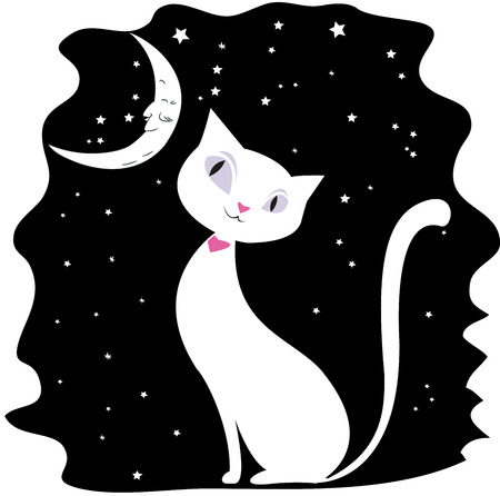whisker characters: White cat on a black night sky, the stars and the moon,vector illustration, Illustration