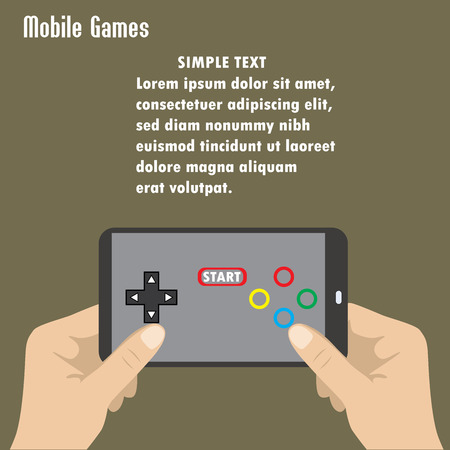 holding smart phone: Hand holding smart phone, the screen icon game controller. Illustration