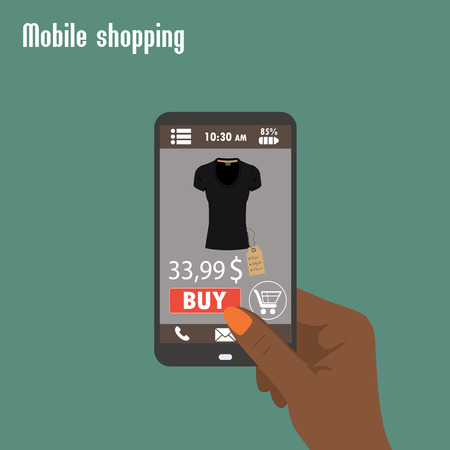 commerce electronique: Shopping avec smartphone. . Commerce Electronique. Vecteur plat.