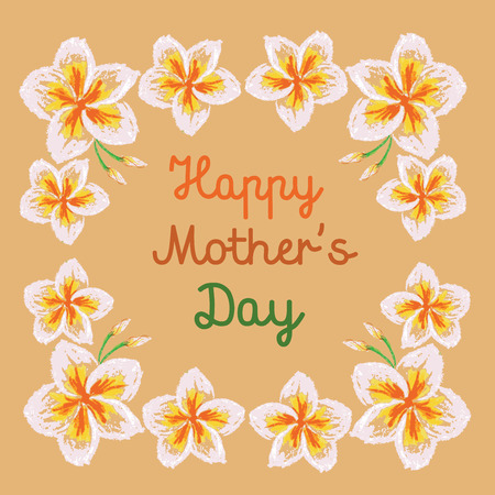 frangipani flower: Vector illustration handmade drawing pastel chalks frangipani flower background, happy mothers day background