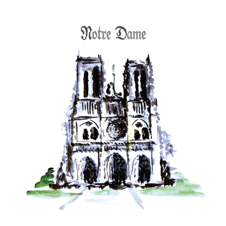 notre dame de paris: Notre Dame de Paris Cathedral, France. Watercolor hand drawing vector illustration