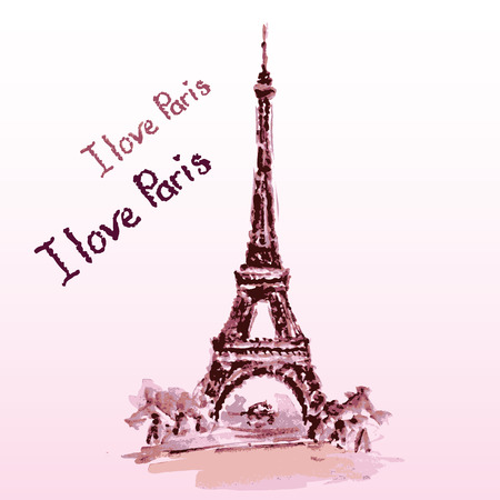 Love in Paris. Eiffel tower,lettering,pink hearts.Hand drawn watercolor decor.Vintage Vector illustration Vector