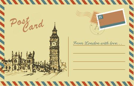 ben: Vintage postcard with Big Ben,watercolor hand drawing,vector Illustration