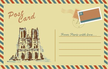 dame: Vintage postcard with Notre Dame,watercolor hand drawing,vector
