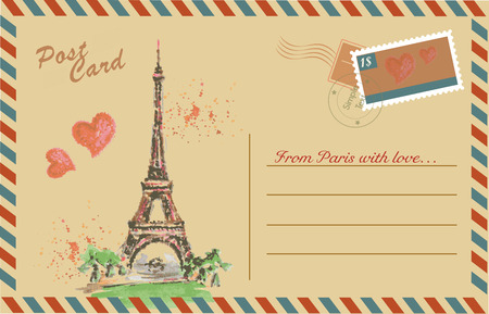 Vintage postcard with Eiffel Tower,watercolor hand drawing,vector Vector