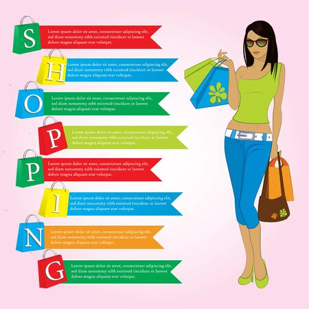paper bags: Girl with shopping bags, paper bags with the word shopping, infographics, vector Illustration
