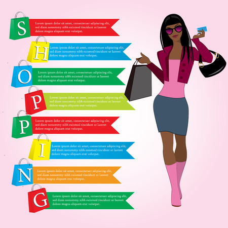 Girl with shopping bags, paper bags with the word shopping, infographics, vector Vector